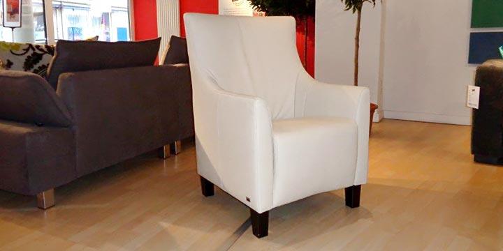 reduziertes Ausstellungsstück Sessel Alf in Leder creme weiß