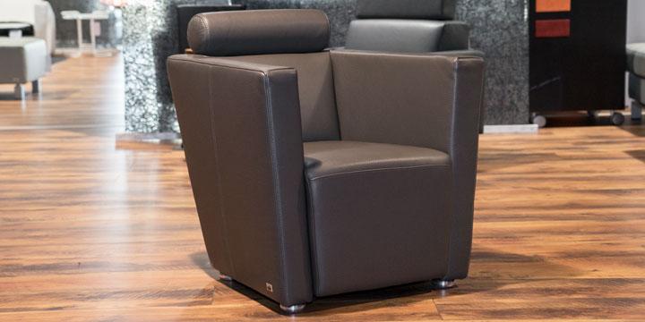 Arthe - Sessel Leder Club elefanto mit Effektnaht