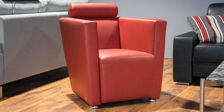 Arthe - Sessel Leder Jumbo Rot mit Effektnaht