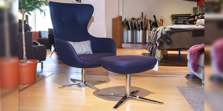 Queen - Sessel mit Hocker Wollstoff Comfort dunkelblau