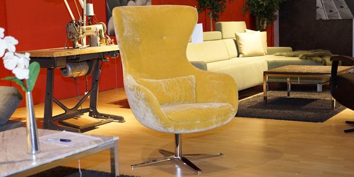 Queen - Sessel inkl. Lendenkissen Stoff JAB Excellence gelb