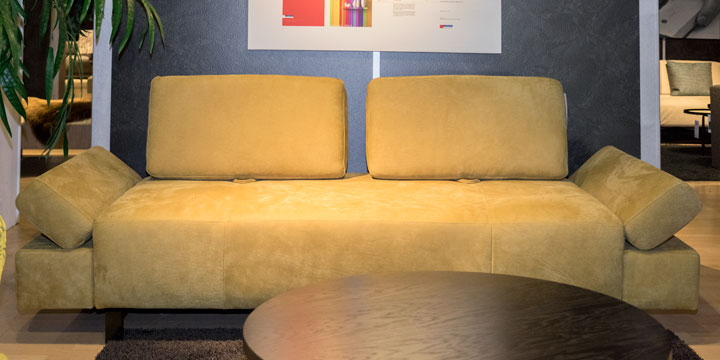 Attico - 2,5 Platz Sofa Leder Nubuk Stone washed senf mit Effektnaht