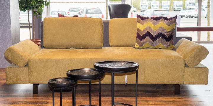 reduziertes Sofa Attico in Leder Nubuk Stone washed curry