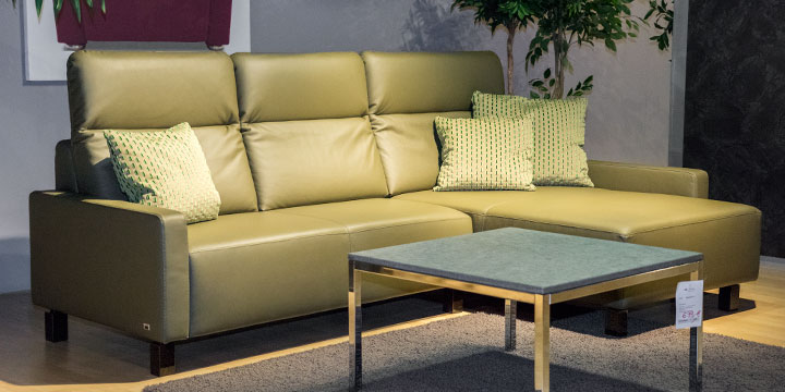 Batida - 2 Platz Sofa + Longchair Leder Napoli oliv mit Effektnaht