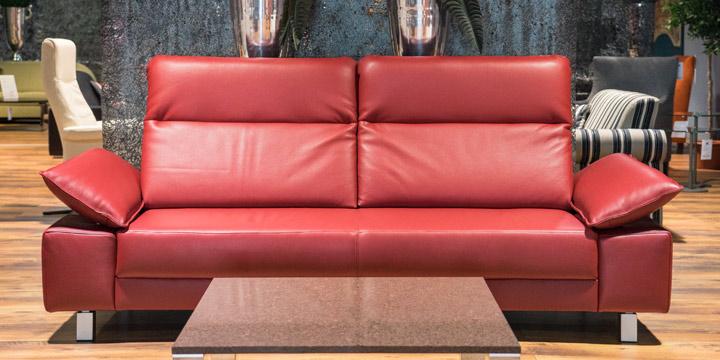 Batida AL Pablo - 2,5 Platz Sofa, ca. 252 x 91 cm in Leder Dolomiti cherry mit Effektnaht