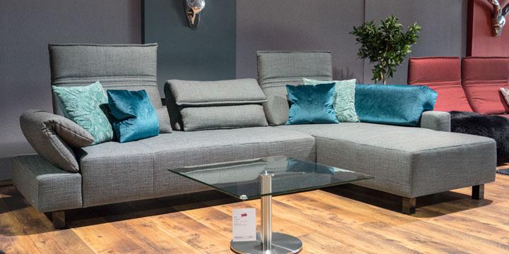 Bono - 2,5 Platz Sofa + Longchair, ca. 325 x 180 cm in Stoff Art Nocel Coari teal