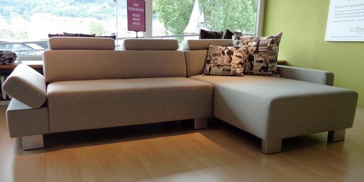Finesse mit Armlehne Indigo - 2 Platz Sofa + Longchair Stoff Bonbelle mousse