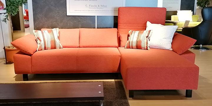 Fontana II - 2 Platz Sofa + Longchair Stoff Fine Prima orange