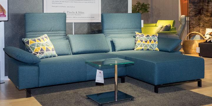 Fontana II - 2 Platz Sofa + Longchair Stoff Prima dunkel türkis