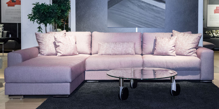 Home - Sofa inkl. Zierkissen Stoff Romo old rose, Kissen Capri old rose
