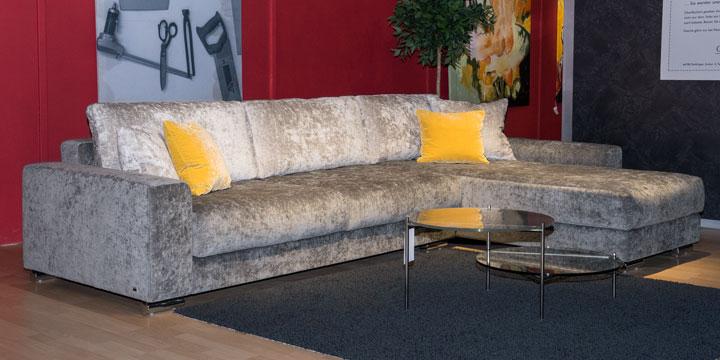 Home - 3 Platz Sofa + Longchair ca. 335 x 220 cm Stoff Casual grau (Auslauffarbe), Rückenkissen Stoff Levante