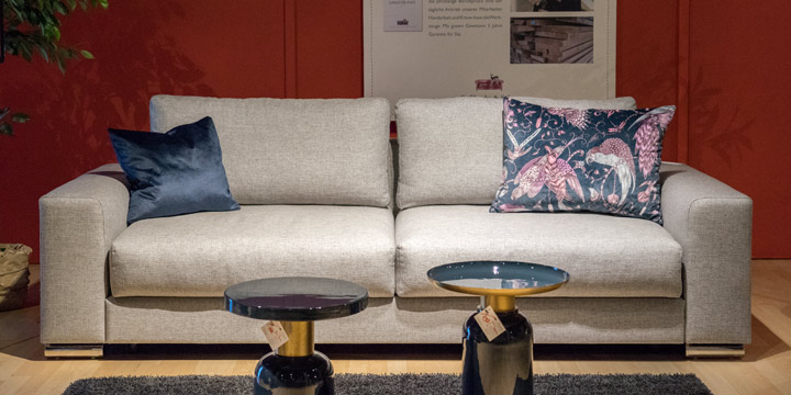 Home extra - 2,5 Platz Sofa in Stoff Babel Ash grau