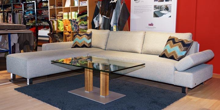 reduziertes Ausstellungsstück Sofa Indigo ind Stoff Bistro