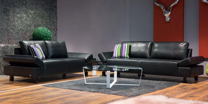 Indigo - 2 + 2,5 Platz Sofa Leder Ibiza schwarz mit Effektnaht
