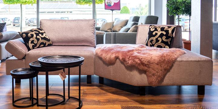 Indigo - 1 Platz Sofa + Hexagon + mobiler Rücken in Stoff Englisch Dekor Rosa