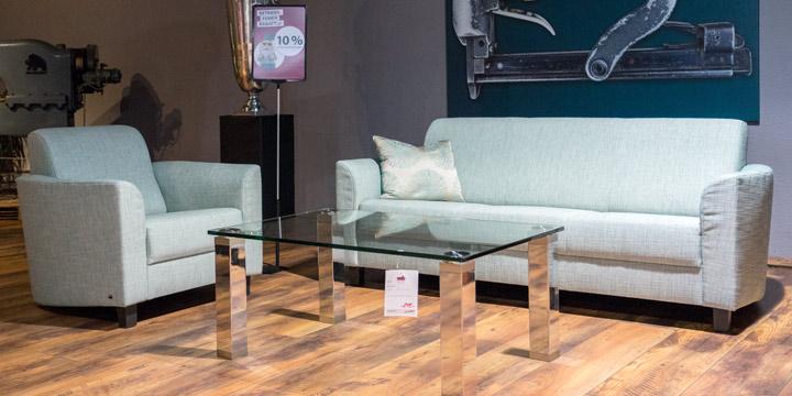 Liberty-Como - 3 Platz Sofa + Sessel in Stoff S&V Magic hell türkis