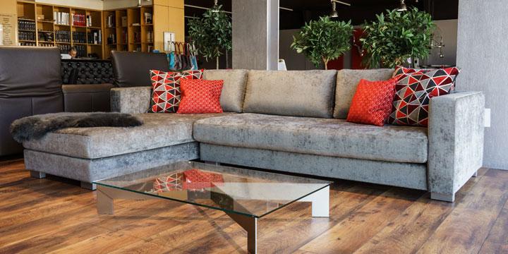 Sale Ausstellungsstück Sofa Living in Stoff graumeliert