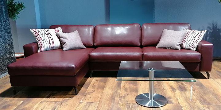 Menta - 2,5 Platz Sofa + Longchair Leder Ibiza burgunderrot
