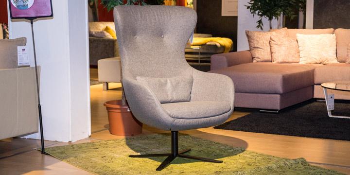 Queen - Sessel 360° drehbar, inkl. Lendenkissen in Wollstoff grau