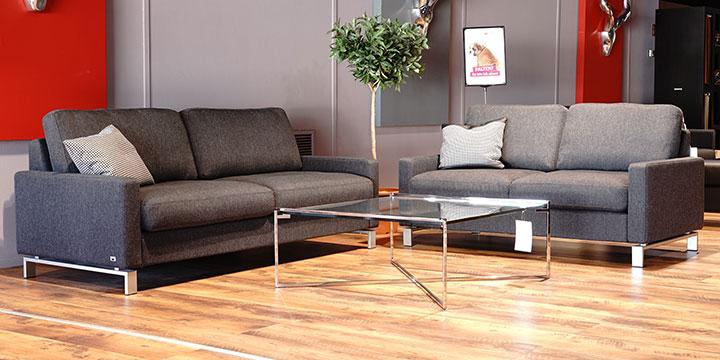Salma - 2 + 2,5 Platz Sofa Stoff S&V Martinez grau