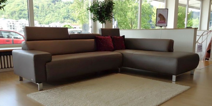 reduziertes Ausstellungsstück Sofa Signum in Leder Club braun