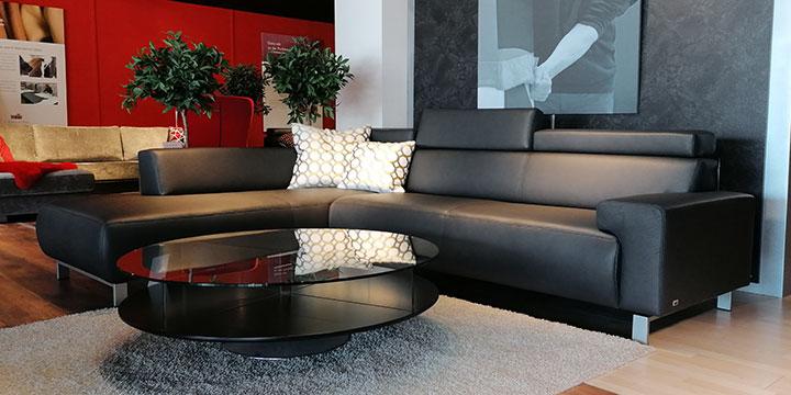 Signum - 2,5 Platz Sofa + Anbausofa Leder Bull Club anthrazit