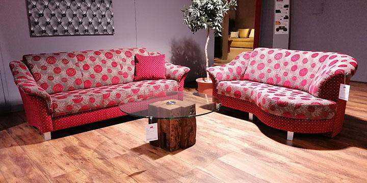 Turin - 3 Platz Sofa + 2 Platz mit Rhombus Stoff Höpke Falun & Pitea rot