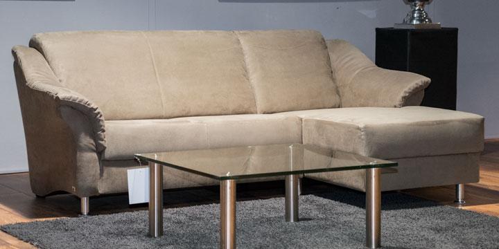 Turin - 2 platz Sofa + Longchair Mikrofaser S&V Like Suede grau-beige