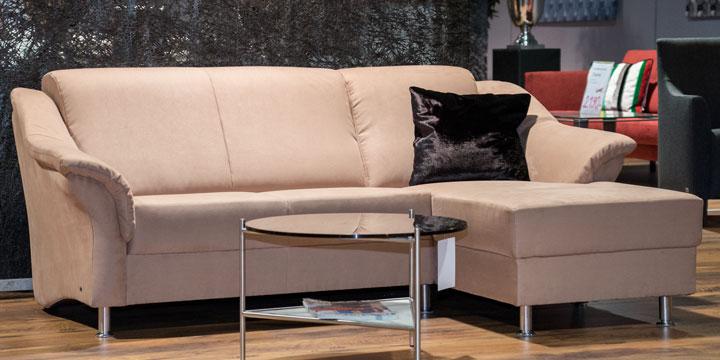 Turin - 2 Platz + Longchair ca. 206 x 147 cm Mikrofaserstoff Like Suede beige