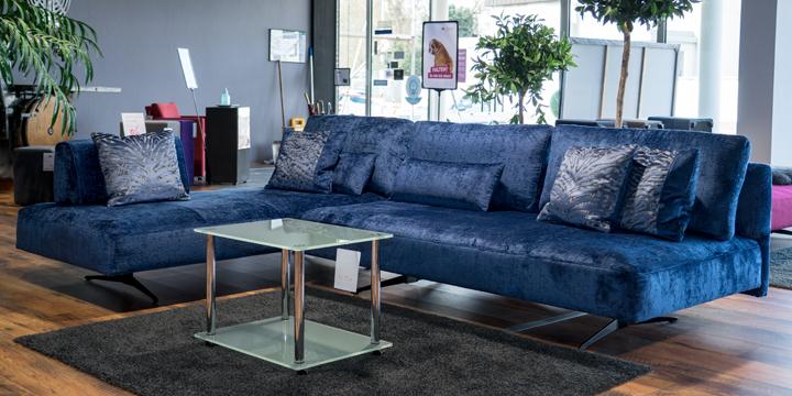 Wave - Sofa ca. 213 x 309 cm Stoff Velours Levante blau