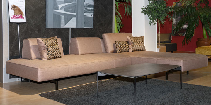 Wave - 3 Platz Sofa + Longchair in Stoff Babel terra braun-beige