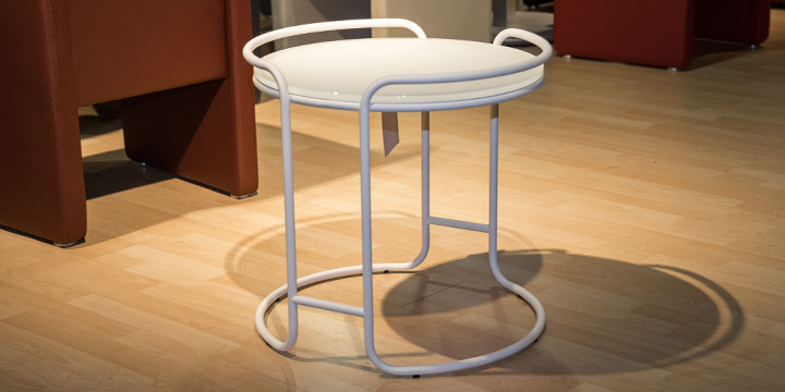 Tisch - Rund ca. Ø 55 x H 52 cm Gestell weiß matt, Glasplatte 12 mm dick