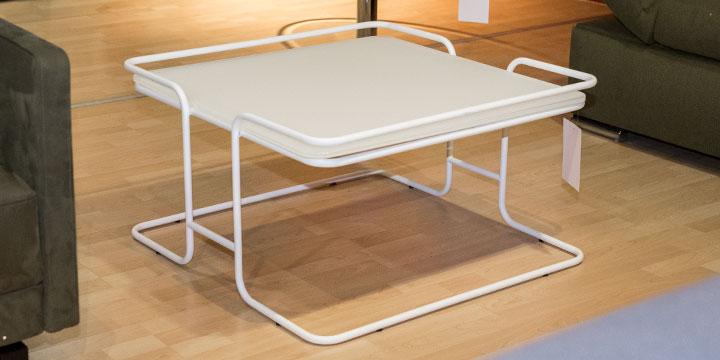 Tisch - quadratisch ca. B 80 x T 80 x H 43 cm Gestell weiß matt, Glasplatte 12 mm dick
